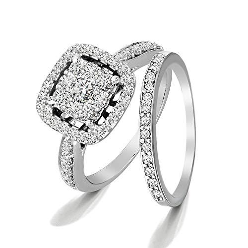 100% Diamante real Anillo de compromiso de racimo de diamantes de lujo 1.00 cttw Anillo de diamantes cultivado en laboratorio para mujeres Anillo de diamantes creado en laboratorio Calidad SI-GH