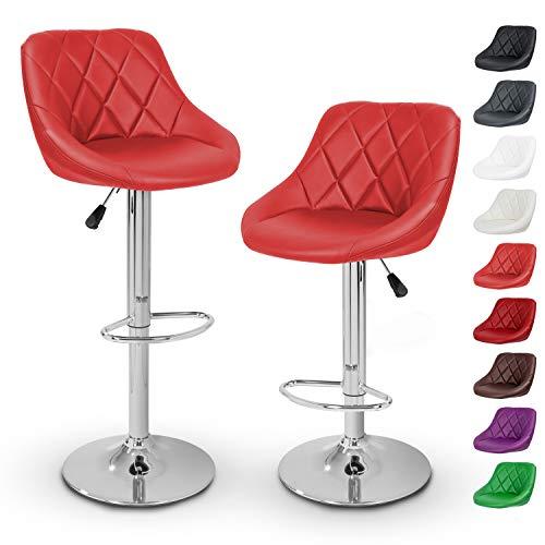 TRESKO Set di 2 Sgabelli-Bar Moderni, Sedia Bar, Sgabello Lounge con Schienale, 10 Colori Diversi, Cromato, Rotazione Libera a 360 , la Regolazione in Altezza dei sedili 60,0-80,0 cm (2X Rosso)