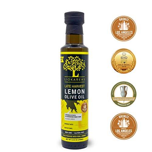Lemon Oil - Greek Extra Virgin Olive Oil Pressed With Lemons - 2020 Award Winner - Single Sourced - Cold Pressed - First Pressed - 8.45oz - No Artificial Flavor