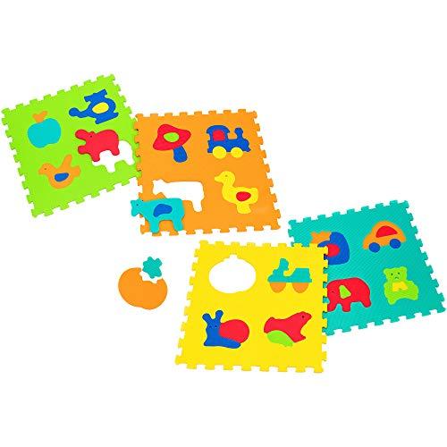 Vitamina G 05060 Mattonelle Puzzle Extra-Large, forme e animali, 4 pezzi, Multicolore