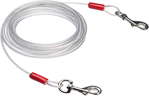 AmazonBasics Tie-Out Cable/Leash for Dogs up to 41 Kg, 25 Feet