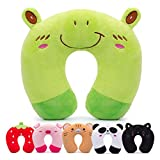 H HOMEWINS Travel Pillow for Kids Toddlers - Soft Neck Head Chin Support Pillow,Cute Animal,Comfortable in Any Sitting Position for Airplane,Car,Train,Machine Washable,Children Gift(Frog)