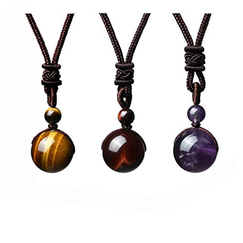 JOVIVI 3pcs Healing Crystals Necklace Natural Tiger Eye...