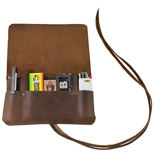 Hide & Drink, Rustic Leather Tobacco Pouch, Smoking and Field Notes Case, Classic Vintage Birthday & Anniversary Gifts, Smoking Essentials Handmade Includes 101 Year Warranty :: Bourbon Brown
