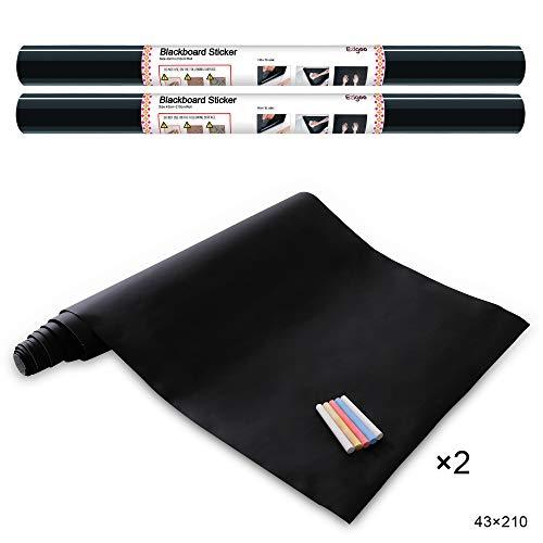 Ezigoo Carta Lavagna Adesiva 2 rotoli- Adesivo Lavagna Rimovibile Memo da Parete - 43cm x 210cm con...