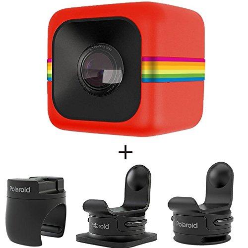 Polaroid ポラロイド POLC3 キューブ HD デジタルビデオアクションカメラ アクセサリーセット (赤)(POLC3R、POLC3HM、POLC3ST、POLC3BMセット)