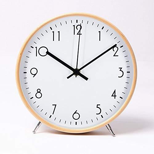 ALEENFOON 8.6 Zoll Holz Uhr Modern Leise Wanduhren Tischuhr für Wohnzimmer Küche Ohne Tickgeräusche Innenuhr Nicht Tickende Wanduhren Hängende Uhr (Weiß)