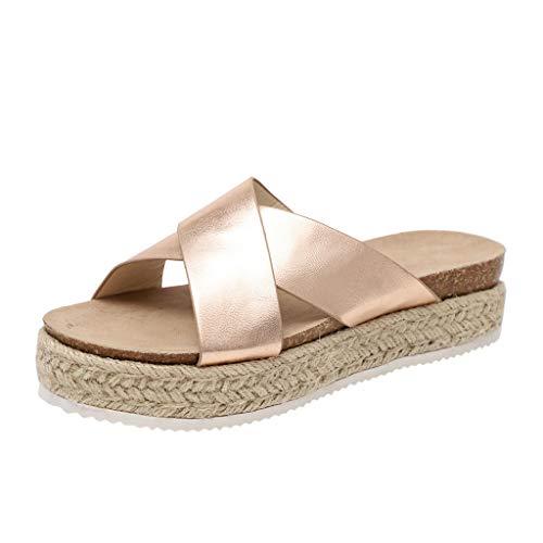 2019 Verano Sandalias Y Chanclas Para Mujer, Zapatillas Con Plataforma Cuña Alpargatas De Playa Vacasiones Al Aire Libre De Estampado Zapato Casual(Oro,37)