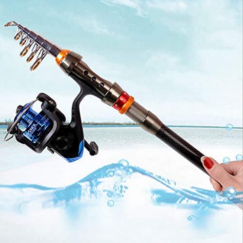 Zhicaikeji Canna da Pesca Mare Outdoor Spinning Canna da Pesca-1.8M / 2.1M Forte Fibra di Carbonio Ultraleggera Telescopica Canna da Pesca Kit da Pesca Canna da Viaggio (Size : 2.1m)
