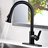 AMAZING FORCE Matte Black Kitchen Faucet Pull Down Kitchen Faucets Stainless Steel Kitchen Faucet with Pull Down Sprayer Modern Single Handle Kitchen Faucet Mixer Tap.