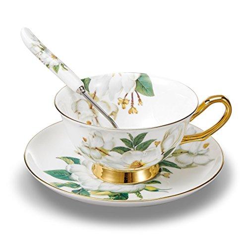 Panbado Set di Tazza e Piattino Bone China Tazzine da caffè Tazze da tè Servizi da caffè Mugs in Porcellana Coffee Cup, Set 1 Pezzi 1 Tazza, 1 Piattini, 1 Cucchiai, 200ml
