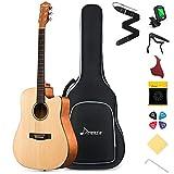 Donner Akustikgitarre Set 41 Zoll Cutaway Akustik Gitarre 4/4 in voller Größe Gitarren für Anfänger Erwachsene mit Gigbag Capo Plektren Saiten(Natur)