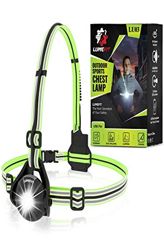 LUMEFIT Running Light for Runners - Chest LED Lamp Run Light - 90° Adjustable Beam Angle, 500 Lumen 360 Degree Reflective Band, USB Rechargeable - Front Body Torch Rear Safety Warning (Green)