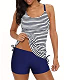 Yonique Blue Strappy Tankini Swimsuits for Women with Shorts Striped Drawstring Bathing Suits Two Piece Swimwear L