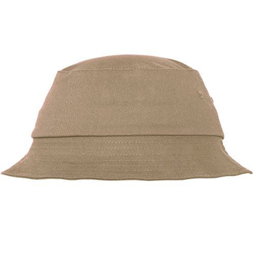 Flexfit Cotton Twill Bucket Hat - Unisex Anglerhut für Damen und Herren, einfarbig, mit patentiertem Flexfit Band, Farbe Khaki, one size