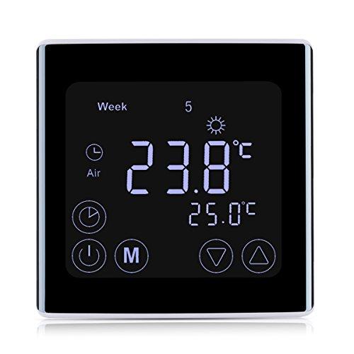floureon Thermostat Programmable Numérique pour Chauffage Electrique Réglable d'Ambiance avec Écran LCD - Noir