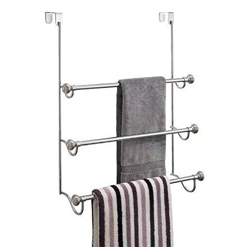 iDesign York Over the Shower Door Towel Rack for Bathroom, 1.5' x...