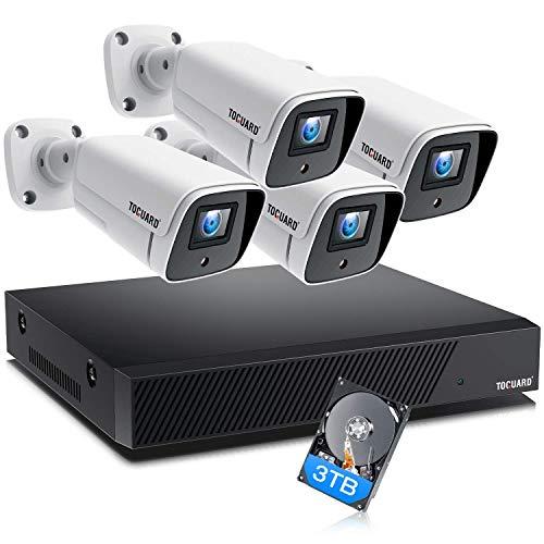 TOGUARD 8CH 4K Kit de cámaras de vigilancia PoE externo, 4 cámaras IP de 8MP Sistema de vigilancia con 3TB NVR HDD, H.265, visión nocturna, grabación 24/7, detección de movimiento, alerta por correo electrónico