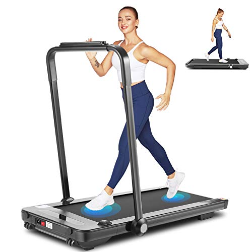 fioleken 2 in 1 Under Desk Treadmill for Home,2.25HP Electric Folding Treadmill with Bluetooth Speaker Remote Control & 12 Preset Modes,Installation-Free 5