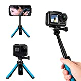 TELESIN Selfie Stick Tripod Stand Mount Handheld Extendable Monopod Pole Compatible for GoPro Max, Hero 10 9 8 7 6 5 4, Session 4/5, DJI Osmo Action, Insta 360 One R and More Action Cameras