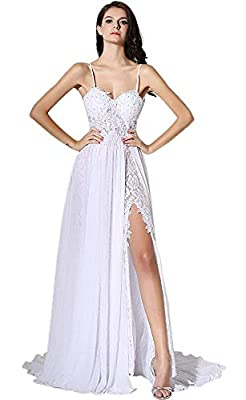 Featured: See through, Spaghetti straps, beaded applique top, side split chiffon overlay lace Advantage: Heartgown is a registered brand, all the dresses are truly handmade with warmly heart Size: Our dress is made exactly as the Size Information on ...