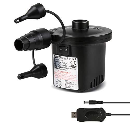 Deeplee Pompe à Air Électrique, 2 en 1 Rechargeable Gonfleur Degonfleur Electrique Pompe À Air Portable Rapide Gonfleur Électrique avec 3 Buses pour Matelas Gonflable,Un Adaptateur USB 5V Inclus