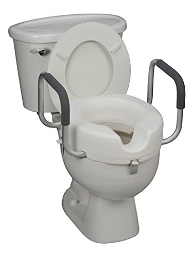 Raised Toilet Seat with Arms (White/Aluminum/Black) (22' L x...