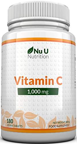 Vitamin C 1000 mg | vitamine C | Cure de 6 Mois/180 comprimés | Compléments alimentaires de Nu U Nutrition