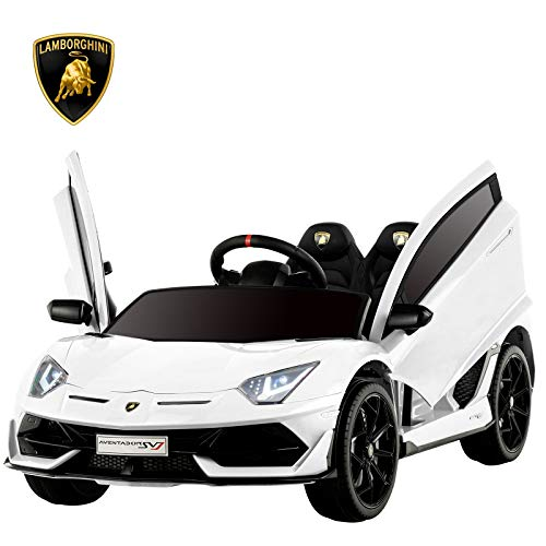 Uenjoy 12V Kids Electric Ride On Car Lamborghini Aventador SVJ Motorized Vehicles with Remote Control, Battery Powered, LED Lights, Wheels Suspension, Music, Horn, Compatible with Lamborghini, White