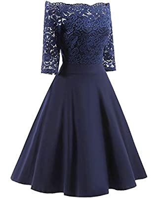 SPRING LACE FLORAL DRESS: Classic vintage dress, half lace design, give you a simple but temperament lovely confidence FLORAL SWING DRESS: Half swing dress design, don't make it too formal, also can be a great dress for women casual life A LINE DRESS...