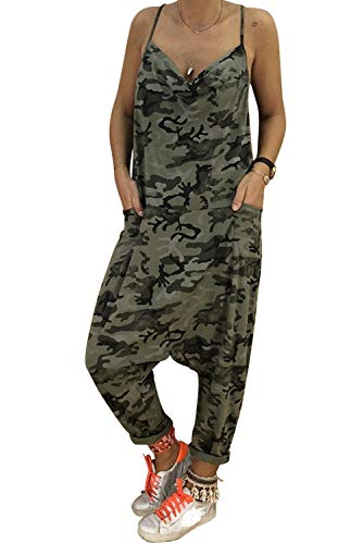 Mameluco Militar para Mujer Pelele Verano Peto Camuflaje Body Cuello V Baggy Jumpsuit Playsuit Largo Hip Hop Harem Mono Holgado Chaleco Sin Espalda con Bolsillos Salopette Overall Romper Streetwear