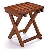 URFORESTIC 100% Natural Bamboo Folding Stool Shower Bench Seat Fully Assembled (18 inches Basic for Shower seat)