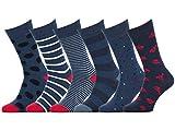 Easton Marlowe - Lot 6 paires - Chaussettes Fantaisie Motif Homme Femme Coton Peigné - 6pk #32, mixte - couleurs principales neutres, 39-42 EU