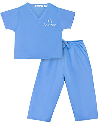 Scoots Toddler Scrubs Big Brother, Blue, Size 5
