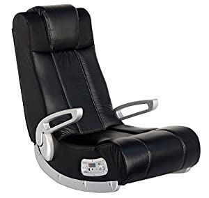 ROCKER GAMING CHAIR WITH SPEAKERS: Leather look lounging game floor chair can be used for playing video games, watching movies and TV, listening to music, reading, and relaxing. RESONATING SOUND: The exclusive AFM Audio Force Modulation technology cr...