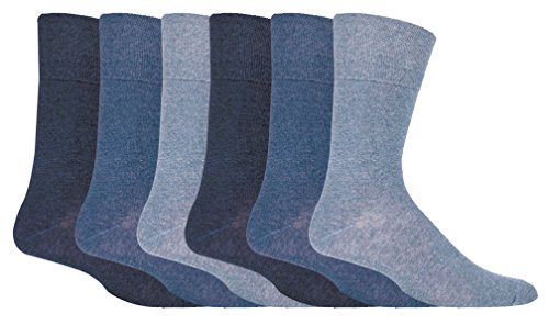 IOMI - 6 Pack Mens Thin Non Binding Extra Wide Loose Top Cotton Diabetic Socks (7-12 US, Blue)