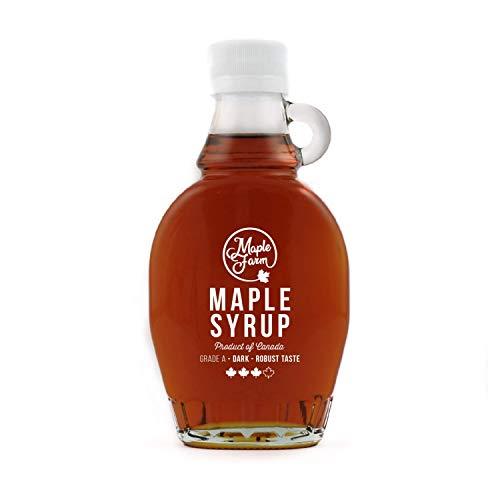 MapleFarm - Puro sciroppo d'acero Canadese Grado A (Dark, Robust taste) - Bottiglia 189 ml (250 g) -...