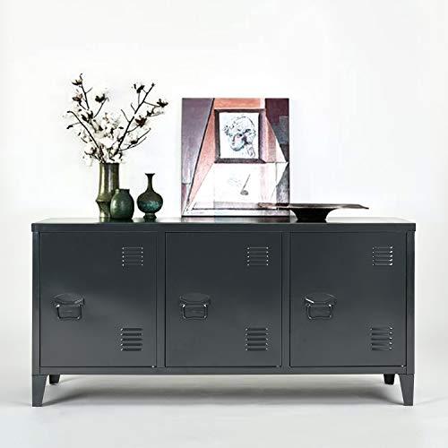 Grande armadio in metallo a doppio rivestimento con 3 ante in metallo, mobile da ufficio o guardaroba con due ripiani, basso, misure: 120 x 40 x 58 cm