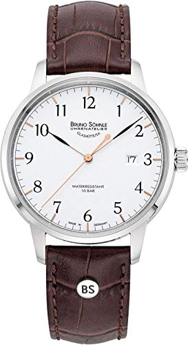 Bruno Söhnle Herren Analog Quarz Uhr mit Echtes Leder Armband 17-13201-221