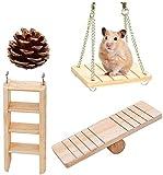Jouets à Macher de Hamster,Lot de 4 Accessoires de Jouets de...