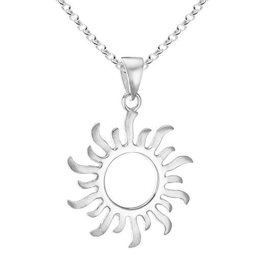 Vinani Pendentif avec Chaine Rolo 45 cm - Soleil - mat lustré - Argent 925...