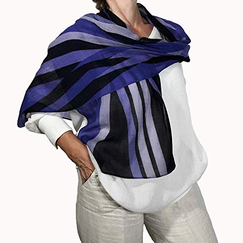 Thin Cashmere Scarf for Women, Violet, Black Striped,...