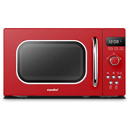 COMFEE' Retro Countertop Microwave Oven with Compact Size, Position-Memory Turntable, Sound On/Off Button, Child Safety Lock and ECO Mode, 0.7Cu.ft/700W, Passionate Red, AM720C2RA-R