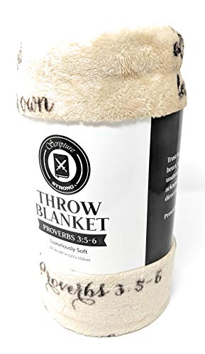 Inspirational Scripture Ultra-Soft Throw Blanket   Lightweight Fleece   Proverbs   50x60 Inches (Brown)