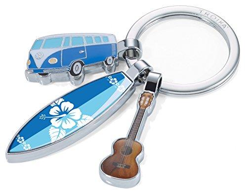 TROIKA SURFMATE T1 - KR16-14/CH - Nostalgie-Schlüsselanhänger - mit 3 Anhängern - Bulli, Surfbrett, Gitarre - glänzend - mehrfarbig
