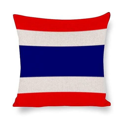 N/ A Federa per cuscino in lino con bandiera thailandese, decorazione per cuscino per auto, divano,...