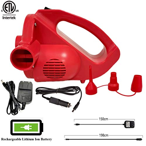 Voniry Rechargeable Air Pump with Electric Battery Powered&Operated - High Power, Cordless, AC,DC for Inflate/Deflate AC 110V/DC 12V with 3 Universal Nozzles for Pools Floats Air Mattress