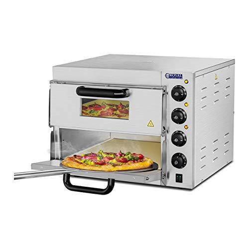Royal Catering Forno Elettrico Professionale per Pizza 350C a Due Ripiani per Ristorante Camion di Cibo 230V 3000W 59x56x43cm Acciaio inox