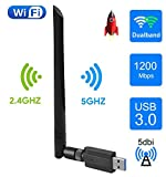 EasyULT Clé WiFi, USB 3.0 WiFi Wireless Adaptateur 1200Mbps Dongle, 2.4/ 5GHz...