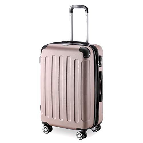 Flexot 2045 Koffer - Farbe Rosegold Größe L Hartschalen-Koffer Trolley Rollkoffer Reisekoffer 4 Rollen